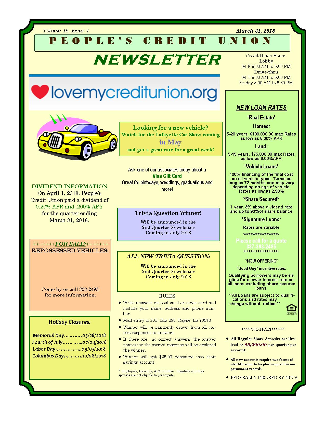 People's Credit Union Newsletter 1st Quarter 2018